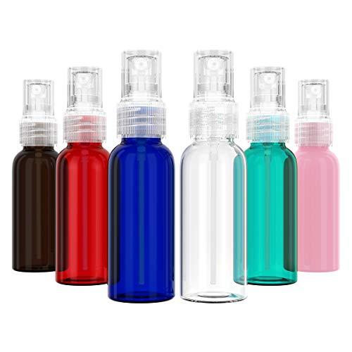 YoungRich 6 Piezas 50ml Atomizador Bote Spray Botellas Vacía De Plástico Transparentes Contenedor de Pulverizador Líquido Reutilizable para Aceites Esenciales Viajes Perfumes(6 colores)
