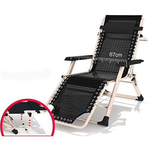 DBCSD Chaise Longue de Jardin, Chaise Longue Siesta Office Balcony Chaise Nap Simple lit Pliant Lounge Chair Ménage (Couleur: Noir)