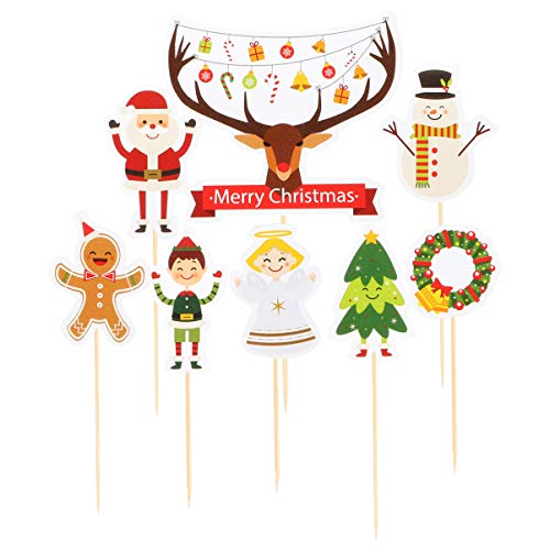 Amosfun 12pcs Christmas Cake Toppers Cartoon Xmas Tree Santa Elk Cupcake Toppers Dessert Food Pick Toothpick For Holiday Kids Birthday Baby Shower Party Favors