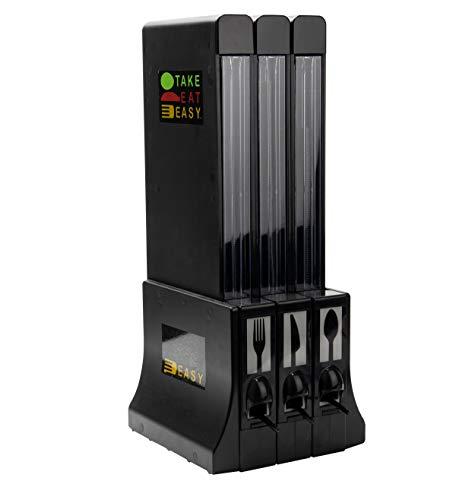 Mind Reader Refillable Utensil Dispenser, Marked Cutlery Organizer, Bulk Plasticware Sorter for Restaurant, Diner, Office, Black
