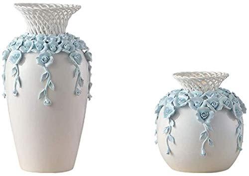 Vase Grave cerámica hecha a mano manualidades tridimensionales de flores que se pueden colocar en la sala de estar, dormitorio, hotel, decoración (juego de 2) para flores