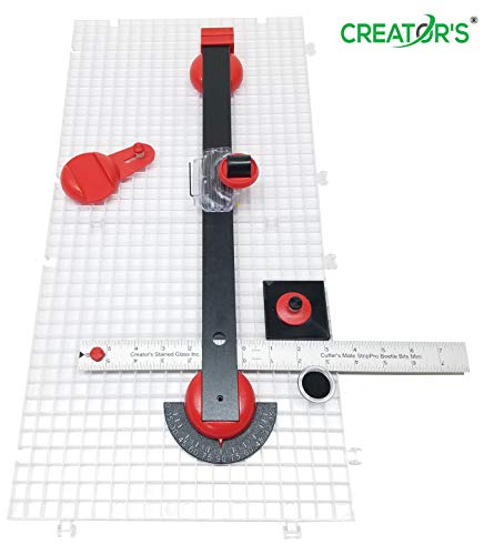 Creator's Beetle Bits Mini Glass Cutting System Portable Work Station For Geometric Shapes COMPLETE WITH 2 Waffle Grids AND Push Button Flying Beetle Glass Cutter INCLUDED - DIY - Made In The USA