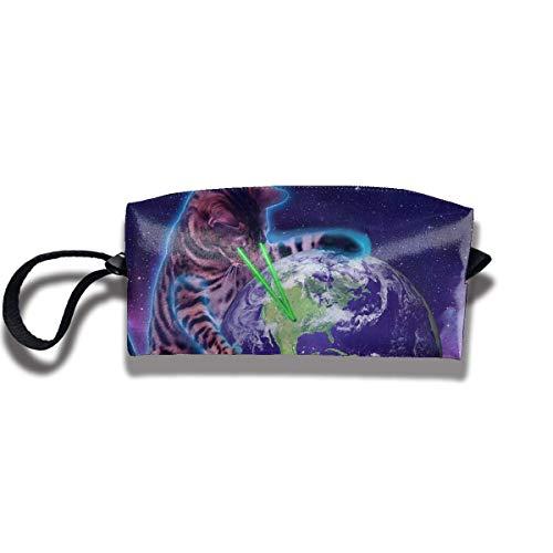 Pencil Bag Kosmetiktasche Space Cat mit Augenlaser Damen Kosmetiktasche Multifunktions Durable Pouch Zipper Organizer Bag