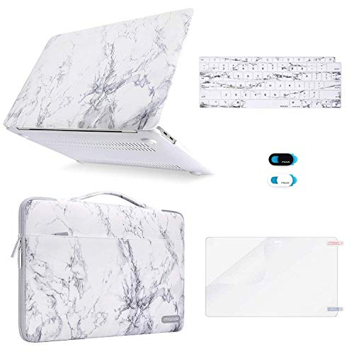 MOSISO MacBook Air 13 inch Case 2019 2018 Release A1932 Retina Display, Plastic Hard Shell & Sleeve Bag & Keyboard Cover & Webcam Cover & Screen Protector Compatible with MacBook Air 13, White Marble