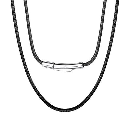 ChainsPro 2MM Collar Flexible Unisex de Hombres y Mujeres Cierre Metal Color Negro 16 Pulgadas, Cuerdas Cruzadas de Cuero Cadena de Cera SOGA