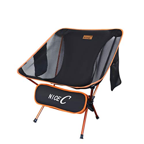 Nice C Ultralight Portable Folding Camping Backpacking Chair Compact amp Heavy Duty Outdoor Camping BBQ Beach Travel Picnic Festival with 2 Storage BagsampCarry Bag 1 Pack of Orange