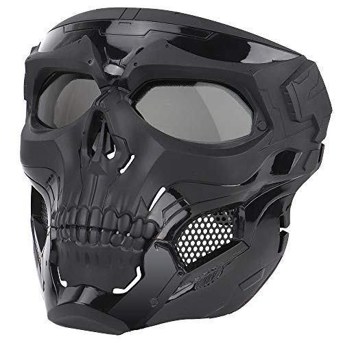 Anyoupin Airsoft Mask,Full Face Masks Skull Skeleton with Goggles Impact Resistant Army Fans Supplies Tactical Mask for Halloween Party Movie Props and Other Outdoor Activities(Black-Gray-Lens)