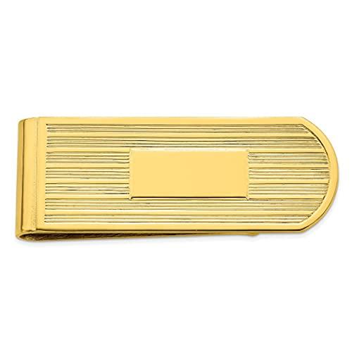 Oro de 14 quilates chapado en oro sólido pulido grabable (solo frontal) Líneas grabadas clip de dinero joyería regalos para hombres