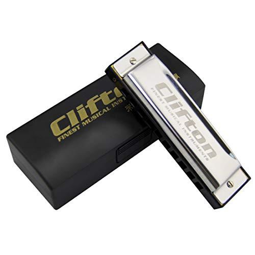 Clifton 10 Hole 20 Tones Blues Harmonica C-key Mouth Organ Blues Harp Key of C Harmonica
