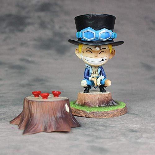 SXXYTCWL One Piece Bandage Kindheit Sabo Glückliche Szenen Desktop-Action-Figur Zeichentrickfigur Modell-Dekoration Statue Kinder Kollektion Spielzeug 15CM jianyou