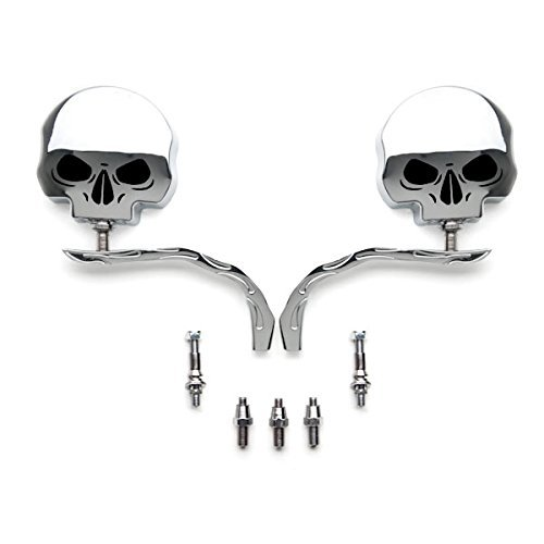 SMT-Skull Flame Chrome Side Mirrors Compatible With Harley Dyna Softail Sportster Bobber Chopper [B00RW3DJTC]
