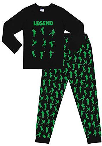 The Pyjama Factory Pyjama-Schlafanzug mit Emote-Legende für Tanzspiele und Gaming, Baumwolle, lang, Schwarz / Grün Gr. 7-8 Jahre, Schwarz