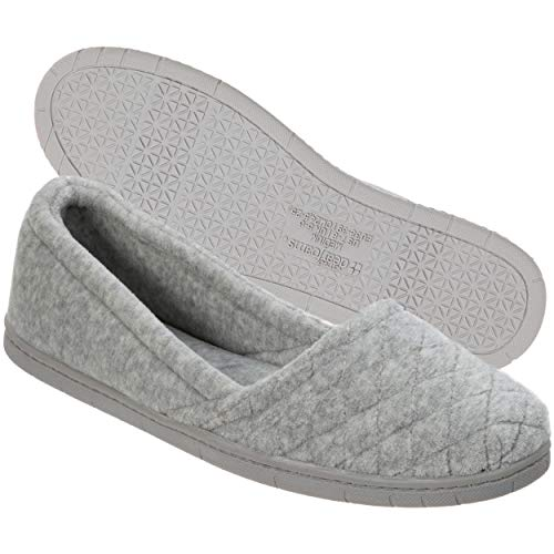 Dearfoams Women's Katie Microfiber Velour Espadrille, Light Heather Grey, M M US