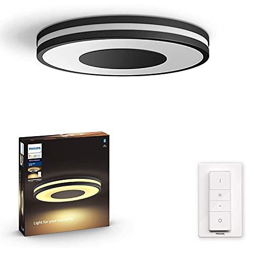Philips Hue – Lámpara inteligente, Hue Being, Plafón LED Inteligente, Luz Blanca de Cálida a Fría, Compatible con Alexa y Google Home, Color Negro