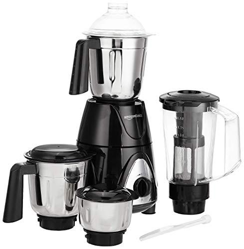 AmazonBasics Premium 750 Watt Mixer Grinder with 3 Stainless Steel Jar + 1 Juicer Jar, Black & Grey