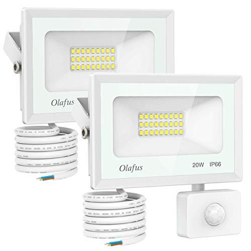 Olafus 2er 20W LED Strahler mit Bewegungsmelder, 1800LM Superhell LED Außenstrahler, 5000K Tageslichtweiß LED Fluter mit sensor IP66 Wasserfest, Ideale Außenbeleuchtung für Garten, Garage, Hof ect.