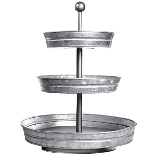 DELBRIO - 3 Tier Jumbo Serving Tray & Display Stand - Rustic, Decorative Galvanized, Farmhouse Decor