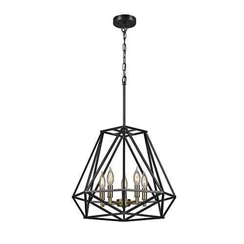 Globe Electric Harrow 1-Light Pendant, Matte Black, Gold Accent Socket