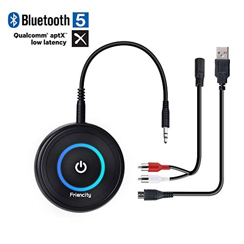 Friencity Bluetooth V5.0 Transmitter Receiver with aptX Low Latency, Wireless Bluetooth Audio Adapter for TV, PC, Home Car Stereo, PS4, Xbox, Headphones, Speaker, 3.5mm Aux/2.5mm RCA Audio Cable