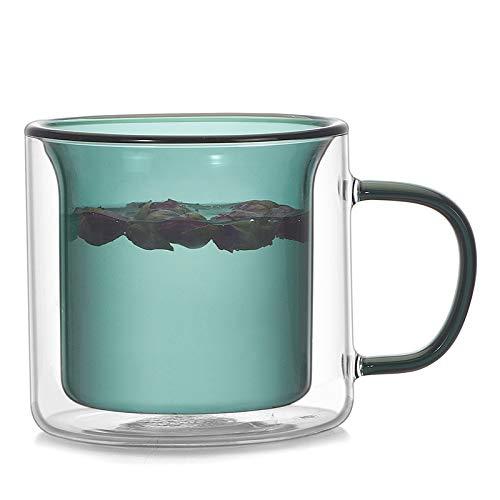 PPuujia Juego de copas de vino multicolor, copas de cerveza de champán, vasos de vino, tazas de té, tazas de café, taza de cóctel, tazas de doble pared, vodka (capacidad: 200 ml, color: verde bosque)