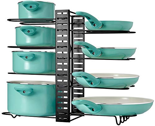 LATTI Pots and Pans Cabinet Organizer and Kitchen Storage Rack - 8 Shelf Metal Cookware Holder with Adjustable Dividers - Organization for Frying Pan Pot Lid Cast Iron Skillet Baking Dish