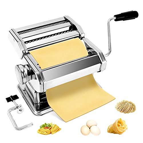 BriSunshine Machine a Pates Fraiche,Machine à Pate Professionnel Laminoir a Pate Manuel avec 6 Réglages D'épaisseur pour des Fettucines Spaghett Faites Maison