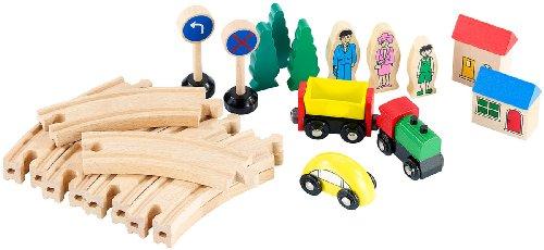 Playtastic Holzeisenbahn: Kleines Holz-Eisenbahn-Set mit 25 Teilen (Modelleisenbahn)