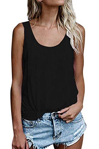 Damen Shirts Ärmellose Sommer Tunika Loose Fit Tank Tops (786Schwarz, XX-Large)