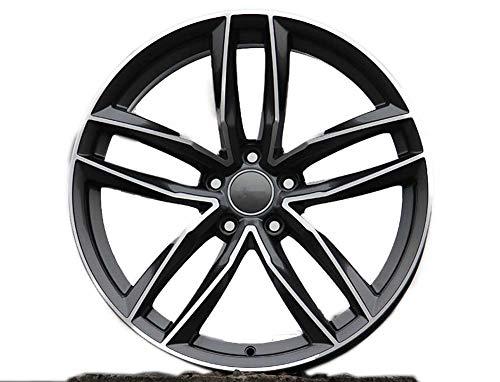 Yx-outdoor Cerchio in Lega a 5 Razze, Offset 45, tornio per Audi A4l A6l Volkswagen CC Golf Magotan Tiguan (1PC),Black,18X8J