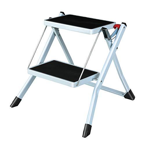 Femor Escalera Plegable de 2 Peldaños, Escalera Plegable de Hierro del Hogar con Pedal Antideslizante de 20cm, Escalera Portátil Multiusos Ligera para Hogar y Oficina