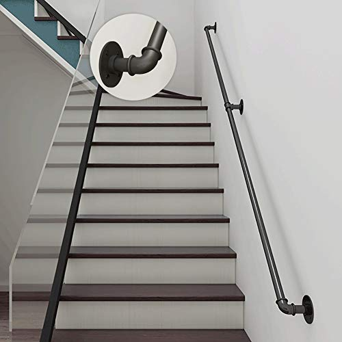 FS Handläufe for Innentreppen, Handläufe for Außentreppen an der Wand, schwarzes schmiedeeisernes Treppengeländer, for Treppen Außenbehinderte ältere Kinder-Stützstange (Size : 150cm)