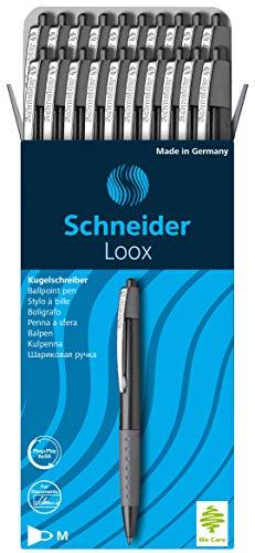 Schneider Loox Kugelschreiber (Schreibfarbe: schwarz, Strichstärke M, Druckmechanik, dokumentenechte Mine) 20er Packung schwarz