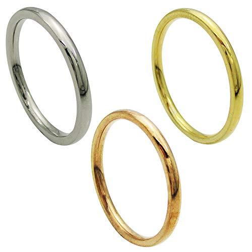ステンレス リング (19) 極細 甲丸 サージカルステンレス 316L 指輪 シンプル 金属アレルギー対応 ニッケルフリー 金色(ゴールド) 14号