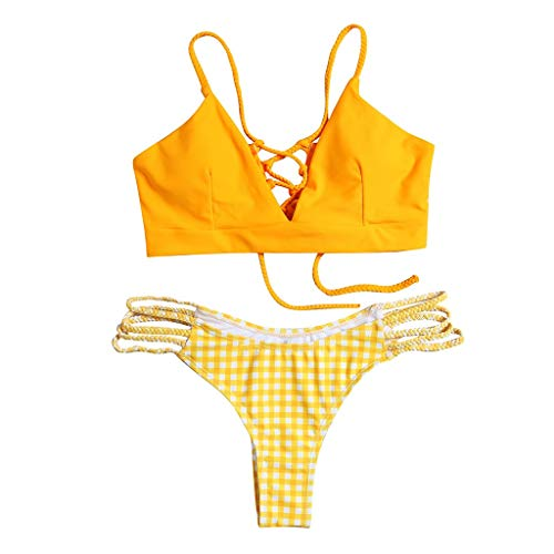 "IEasâ""""n Women Two Piece Swimsuit Crop Cut Wrap Bra Bandage Top with Flower Briefs Swimwear Bathing Suit Beach Wearing(FBA) Yellow"