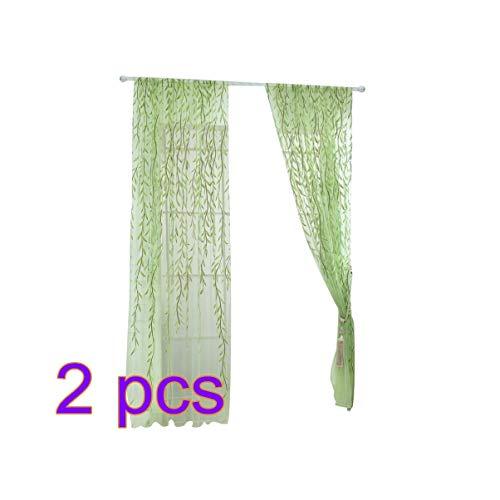 Vosarea 2 piezas de mimbre patrón transparente tul ventana ventana varilla bolsillo velo cortinas 100x200 cm (verde)