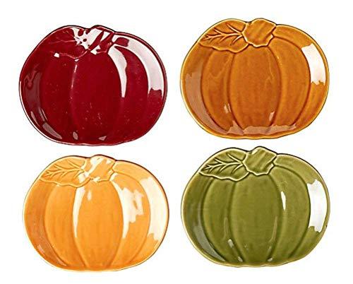 Modern Farmhouse Home Harvest Pumpkin Shaped Ceramic Appetizer Plates, Set of 4