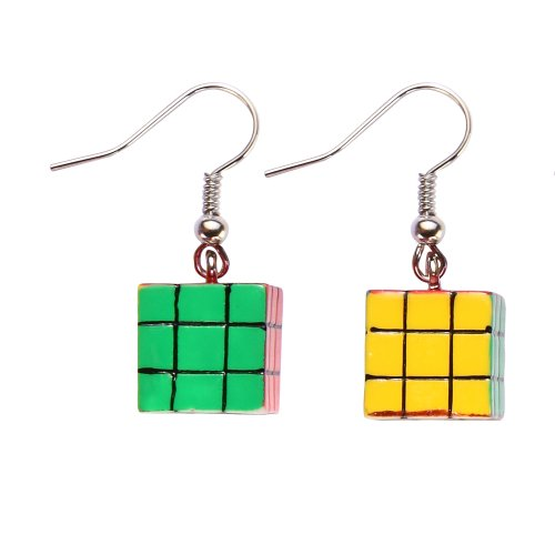 Retro Colourful Rubix Puzzle Cube Style Drop Earrings on card - 80's measure 35mm long