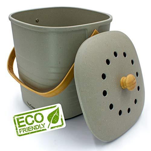 YourCasa® Komposteimer - 6L - für alltäglichen Biomüll in der Küche - geruchsdicht & abwaschbar - nachhaltiger Bio Mülleimer mit Deckel & Filter im schlichten Design