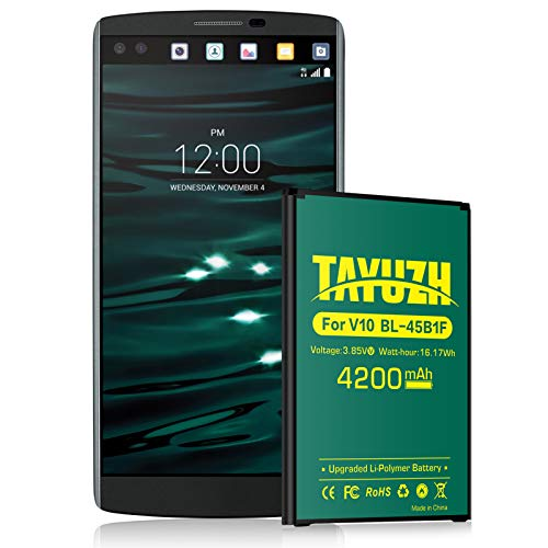 LG V10 Battery, TAYUZH Upgraded 4200mAh Li-Polymer Replacement Battery for LG V10 BL-45B1F, H900 AT&T, H901T-Mobile, VS990 Verizon, LS992 Sprint, H961N, H960A | V10 Spare Battery [24 Month Warranty]