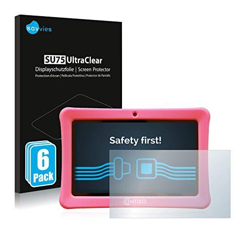 """savvies 6-Pezzi Pellicola Protettiva Compatibile con Contixo Kids 7"""" Tablet Protezione Schermo Trasparente"""