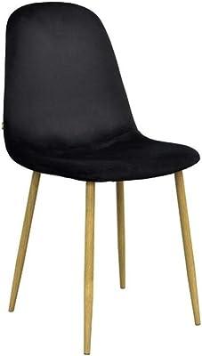 Zons Lot DE 6 Stockholm Chaise Velours SCANDINAVE 45 * 55 * 85CM Noir