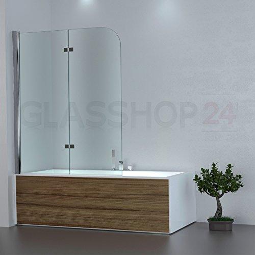 glasshop24 Badewannen Duschabtrennung   1180x1400mm   Klarglas   DW3