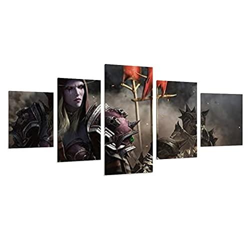Lot de 5 peintures sur toile World of Warcrafts Battle for Azeroth - Décoration murale - Pour chambre à coucher