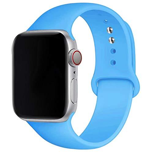 Correa de silicona suave para Apple Watch Series 6 5 4 3 2 SE 38MM 42MM 40MM 44MM Correa de caucho para reloj-03 Azul, 42 mm o 44 mm SM