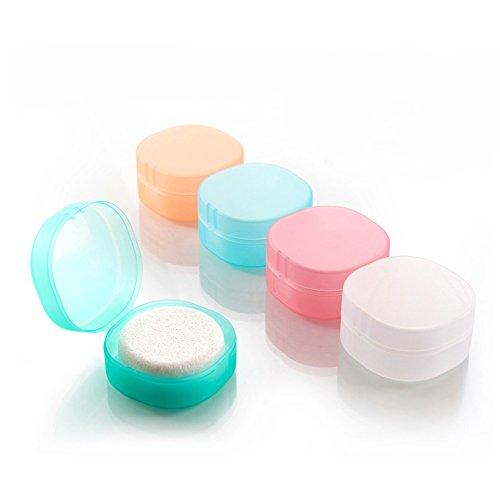 Inovey Minleaf Portátil Redondeado Transparente Espuma Esponja Viajes Jabón Contenedor Soap Caja De Almacenamiento -S - Blanco