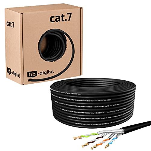 hb-digital 25m Cat 7 Verlegekabel Outdoor schwarz AWG23/1 PE S/FTP doppelt geschirmt PIMF Reines Kupfer 1000MHz 10Gbits Netzwerk Installation Ethernet Roh-/Erdverlegung Datenkabel für Außenbereich