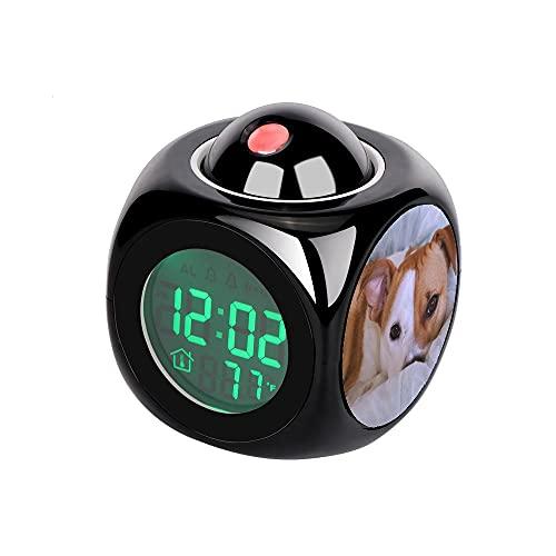 Proyección Digital Niños Reloj Despertador Negro Proyector LED Termómetro Temperatura Escritorio Hora Visualización de la Fecha Reloj de Mesa Foto de Gran Recubrimiento Corto Tan y Perro Blanco