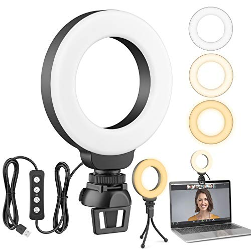 Ultexon 4'' Small LED Ring Light for Laptop, Video Conference Lighting with Clip and Tripod, Webcam Light for Computer, Zoom, Selfie, YouTube, TikTok with 3 Light Modes & 10 Brightness Levels