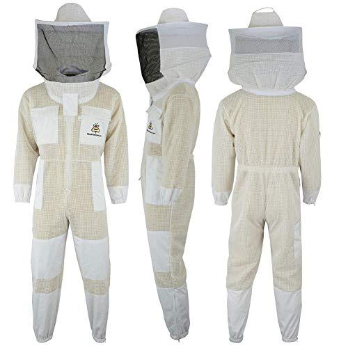 FASFSAF Ultra Ventilated Sicherheit Schutz Unisex Weiß Stoff Metall Bienenzucht Anzug Imker Anzug Outfit Runde Schleier,XXL