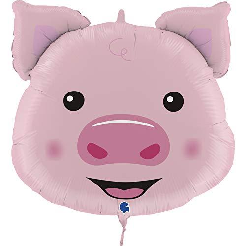 GRABO FG72014-P Folienballon Schweinchen 76 cm Schwein Luftballons, rosa
